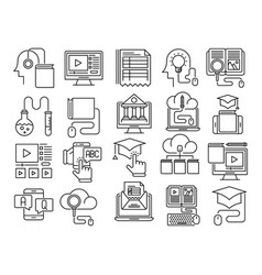 Online education outline icons vector