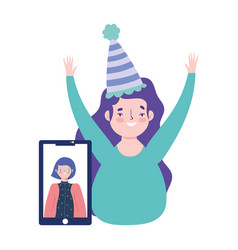 Online party birthday or meeting friends happy vector