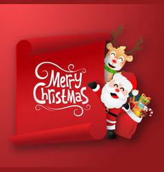 origami paper art santa claus and reindeer vector image