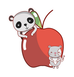 Panda and cat with food vector