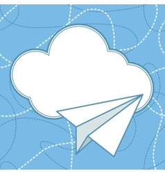 Paper Plane and Cloud Background vector image