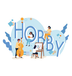 people and hobby icons around letters hobby vector image