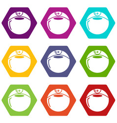 perfume bottle round icons set 9 vector image