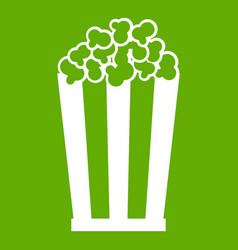 popcorn in striped bucket icon green vector image
