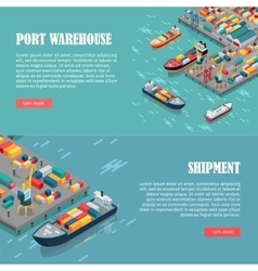 Port Warehouse and Shipment Banner vector