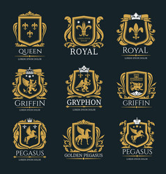 Royal heraldry logo set vector