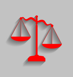 Scales of justice sign red icon with soft vector