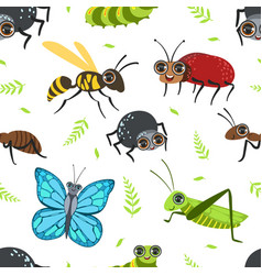 seamless pattern with butterflies and beetles bug vector image