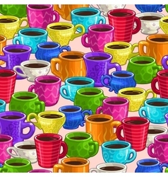 Seamless pattern with colorful cartoon coffee cups vector image