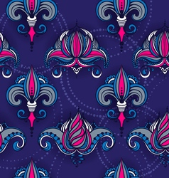 Seamless pattern with lotus flowers and lilies vector