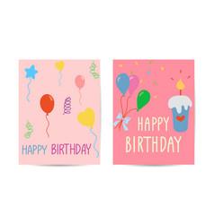 set cute creative birthday card templates hand vector image