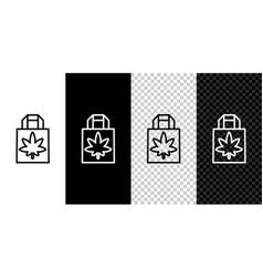 set line shopping paper bag medical marijuana vector image