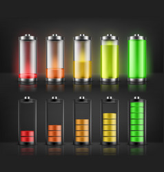 Set of battery charge indicators vector
