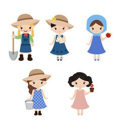 Set of farmer girls set of farmer girls vector