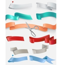 Set of satin ribbons in different colors vector