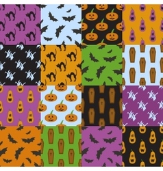 Set of simple patterns for Halloween design vector
