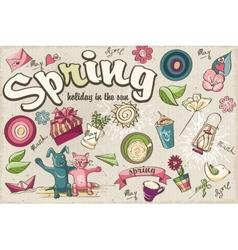 Set spring colored doodles vector