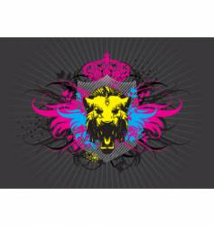 shield crown and lion vector image