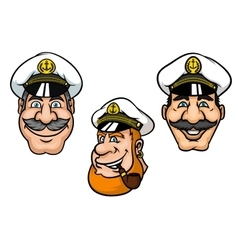 Ship captains in white peaked caps vector