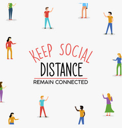 social distancing concept people connected vector image