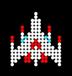 Spaceship pattern dots pixel spaceship image vector