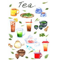Tea watercolor hand painting set vector