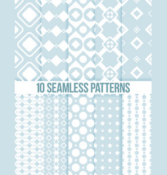 Ten seamless geometric patterns vector