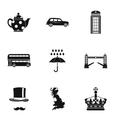 Tourism in United Kingdom icons set simple style vector