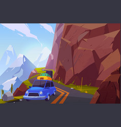 traveling on car cartoon background vector image