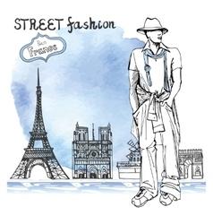 Trendy dude on watercolor backgroundParis street vector