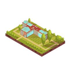 University building isometric layout vector
