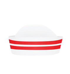 white sailor hat red stripes vector image