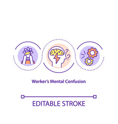 Worker mental confusion concept icon vector