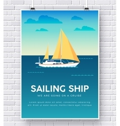 Yacht on water on brick wall vector