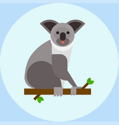 Young koala sitting on tree branch australia bear vector