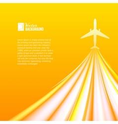 Airplane over orange background vector image