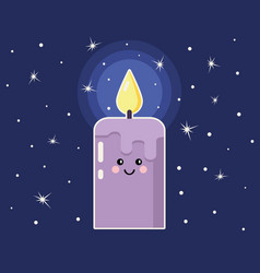 cartoon candle with funny face vector image vector image