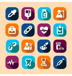 medical long shadow icons vector image vector image
