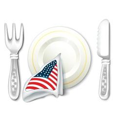 Plate fork knife with usa flag vector
