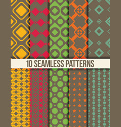 Ten seamless geometric patterns vector