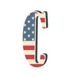 Capital 3d letter c with american flag texture vector