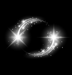 glittering star dust circle of lights white color vector image vector image