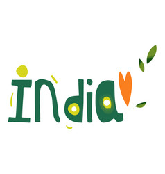 india country name lettering comic typescript vector image