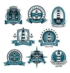 nautical lighthouse icons set vector image