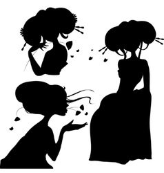 set of silhouettes Japanese girls vector image vector image