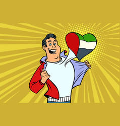 uae patriot male sports fan flag heart vector image vector image