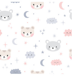 cute seamless pattern for kids with cartoon vector image vector image