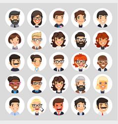 flat business round avatars on white vector image