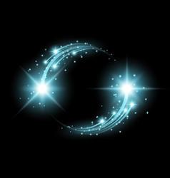 glittering star dust circle of lights aqua color vector image vector image