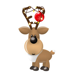 new year deer or fawn with christmas balls and vector image vector image